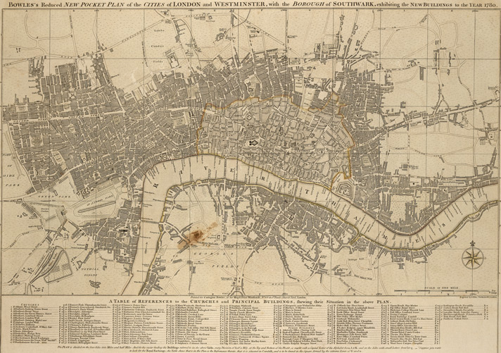 Bowles's reduced new pocket plan of the cities of London and Westminster, with the borough of Southwark exhibiting the new buildings to the year 1780